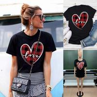 Lieb Print Panelled Short Sleeve Frauen Tees Lässige Kleidung Frauen Valentinstag Womens Designer-T-Shirts Mode
