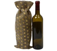 100pcs DHL New gold stamping Jute Wine Bottle Gift Bags burg...