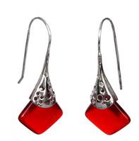 """venta al por mayor buena única plata roja diseñado pendientes 11/2 """"joyas de plata"""