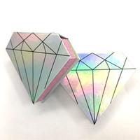 자기 속눈썹 상자 3D 밍크 속눈썹 상자 가짜 속눈썹 포장 케이스 빈 다이아몬드 모양 속눈썹 상자 메이크업 도구 LJJR1082