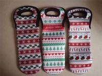 Неопрен Рождество бутылки вина мешок Рождественская елка, снежинки, носки Pattern вина Сакс, Бутылка шампанского крышки
