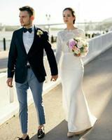 Ivoire gaine à manches longues Plage vestidos de novia taille empire robes de mariée pas cher mariée longues Robes de mariée Afrique du Sud DFR41