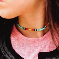 VSCO فتاة بوهو الخرز قلادة قلادة الأزياء شاطئ ملونة قصيرة حزب القلائد بيان مجوهرات اكسسوارات هدية