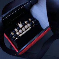 Pulsera de los hombres 3 unids / set Uxury Fashion Crown Charm Piedra natural para mujeres y pulseras para hombre Regalo masculino Regalo de San Valentín Navidad
