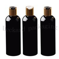 Großhandels30pcs Schwarz 300 ml Probenbehälter Reiniger, Shampoo Storage mit Kappe Goldscheibe leeren Schwarz Verpackung Kunststoff-Flaschen