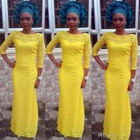 2019 New Afric Yellow Lace 인어 공식적인 이브닝 가운 4 Styles 3/4 긴 Sleeves Jewel 네클라인 층 길이 Prom Dress vestidos 드 노비
