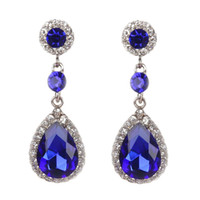 New Retro Full Drilling Water Drop Rhinestones Female Earrin...