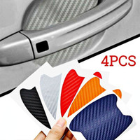4ピース炭素繊維車のドア保護フィルムボウルステッカー保護ボディデコレーションドアハンドルステッカーデカールカーアクセサリー