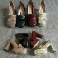 "Entwerfer-Frauen-Plattform-Pumpen Marmont echtes Leder-Absatz Fest Farbe Fransen Schuhe Doppel Toe Hardware 3.3"" 4.5"" Big Size"