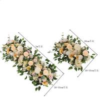 50cm 100cm 1pcs DIY 꽃 행 장미 유칼립투스 결혼식 장식 꽃 장미 모란 수국 식물 믹스 꽃 아치 인공 꽃 행