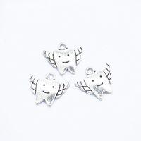 300ピース/ロットチャーム歯の妖精の歯20 * 18mmアンティーク作りペンダントフィット、ビンテージチベットシルバー、DIYブレスレットネックレス