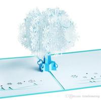tarjeta de felicitación de Navidad al por mayor hecho a mano creativa de tarjeta postal 3D de pop-copo de nieve blanco postales para los niños amigos de regalo de Navidad