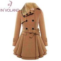 새로운 패션 여성의 울 재킷 겨울 가짜 모피 옷깃 긴 소매 캐주얼 더블 브레스트 벨트와 두꺼운 트렌치 코트 자켓을 따뜻하게