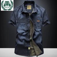 Chemises occasionnelles pour hommes Zhan di Ji Pu Marque Vêtements Plus Taille 3xl Mens manches courtes Chemise Chemise Robe d'été Denim en coton 68