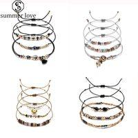 1 Set réglable Nouveau Boho coloré Handwoven multi-couches Bracelets cire corde Bracelet Bijoux Femmes Saint Valentin cadeau en gros-Z