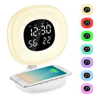 LED Wake-up Light Sonnenaufgang Wecker Wireless Charging Snooze Clock mit 8 Alarmtönen Bedside Simulator für Schlafzimmer # 3