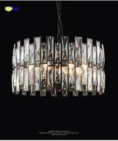 FUMAT Siyah Sonrası Modern İskandinav Tarzı K9 Kristal Stainess Çelik LED Kolye Aydınlatma Lüks Yemek Odası Fuaye Için Cilalar Lamba