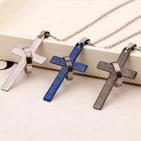 Mode Pendentif en acier inoxydable prière Bible chrétienne Croix Pendentif Homme Collier de Charme Cadeaux Bijoux GB72