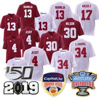 Alabama 13 Tua Tagovailoa carmesí Campeonato Tide Orange Bowl 34 D.Harris 4 Jerry Jeudy 17 Waddle 30 Wilson Jersey 2019 jerseys de