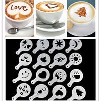 Kahve Şablon Çizim Kalıp Barista Coffee Baskı Çiçek Modeli Şablonlar Cafe Köpük Dekorasyon Aracı yq00279 Sprey