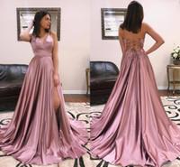 Румяно-розовые сексуальные платья для выпускного вечера с длинными рукавами и V-образным вырезом Простые дешевые платья с высокой спинкой на спине Длина пола Длинные вечерние платья на заказ