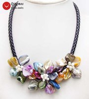 Qingmos Trendy Shell Flower Pendant Necklace for Women with ...