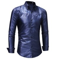 293589 RUUIKE Homme Casual Slim Fit Shiny Gold Dress Shirts ...