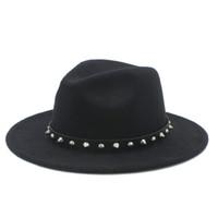 acfafc44388 New Arrival. Retro Wool Women Men Outback Fedora Hat Winer Autumn Wide Brim  Jazz Church Godfather Cap With Punk Rivet Ribbon Size 56-58CM