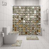 욕실 장식 T200612 들어 NYAA 4 PC를 모자이크 장식의 샤워 커튼 받침대 러그 뚜껑 화장실 커버 매트 목욕 매트 세트