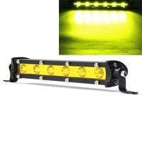 7 pulgadas 18W LED barra de luz de trabajo Haz de haz Lámpara de conducción Amarillo DC 12V para SUV ATV Barco 4WD Off Road