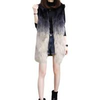 Mulheres Faux Faux Inverno Mulheres Casaco Feminino Casaco Longo Outono Outerwear Vest Gradient Cor com Mangas Destacável Tamanho Asiático