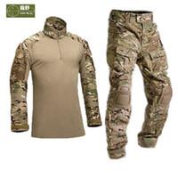 Diz Pedleri Kamuflaj Eğitim Yürüyüş Giyim S19 ile HANWILD Erkekler Taktik Üniforma Gömlek Ordu Savaş Av Pantolon