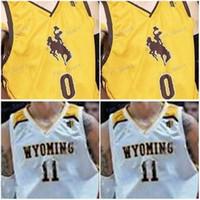 와이오밍 카우보이 사용자 정의 모든 이름 번호 스티치 흰색 노란색 # 1 저스틴 제임스 (22) 래리 낸스 주니어 0 헨드릭스 말도 나도 NCAA 농구 저지