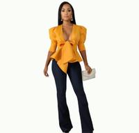 Blouse della tunica della manica del puff Top Donna Plus Size Peblum Bowknot Ruffles Ladies Party Club Giallo Bianco Camicette
