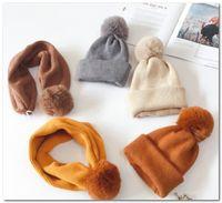 Los niños de punto sombrero chicos grandes borlas casquillos niñas o invierno espesan más calientes de la gorrita tejida caps chicos de punto bufanda de doble uso sombrero de los niños del anillo J0881