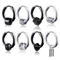 Clip su orecchini a cerchio in acciaio inox anello primavera nero donne mens anelli orecchio anelli hip hop gioielli moda gioielli e regalo sabbioso
