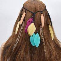 نمط الصيف اليدوية حبل الغجر العرقي جلد ريشة الطاووس Hairbands المرأة بوهو حزب الهبي الشعر Hairband الإكسسوار