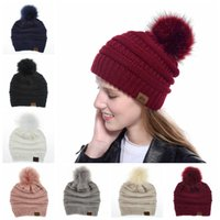 Knitted Beanie Caps Fox Fur Ball Cap Pom Poms Winter Hat War...