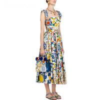 Мода взлетно посадочная полоса летнее платье 2019 женская Красная Роза отпуск Vestidos Длинный Лук спагетти ремень синий белый фарфор цветочный платье T200321