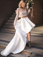 2020 Boho Garden Two Piece Wedding Dresses Long Sleeve Lace ...