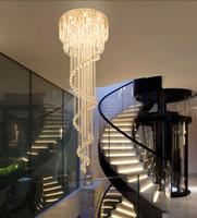 Роскошная современная хрустальная люстра Спиральный дизайн Лестница освещения светильника роскошная гостиная лобби светодиодные хрустальные огни