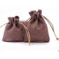 10pcs biancheria di alta qualità panno coulisse monili Sacchetti regalo Sacchetti Piccolo Candy Borse di Natale festa di nozze favori di sacchetti marroni