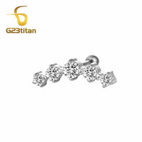 G23titan Fashion Earrings Cartilage Piercing 5 Crystals Labr...