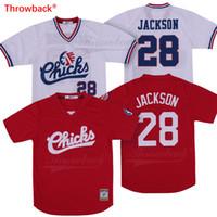 Bo Jackson Jersey # 28 Memphis Chicks Menores Liga Beisebol Jersey Retro Branco Red Frete Grátis S-3XL