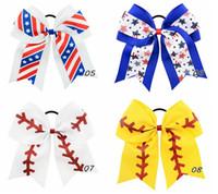 Amigoluk Kızlar A246 için at kuyruğu saç Tutucular 8 '' Büyük Softbol Takımı Beyzbol Cheer Yaylar El yapımı Mix renk Şerit Glitter Stiches