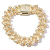 Link, Chain 15mm Baguette Zircon Miami Cuban Link Bracelet Anklets Charm Iced Out Hip Hop Jewelry Gold Silver Color For Men Women