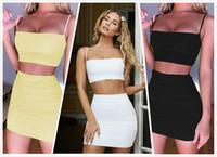 Womens Designer-Kleid-Wäsche-Set Sommer-reizvolle Leibchen gefaltete dünner Hosenträger-Rock Zweiteilige Mode-Verein-Partei-Kleid-heißen Verkauf-8 Farbe