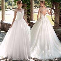 화려한 특종 모자 슬리브 라인 웨딩 드레스 2020 부드러운 얇은 명주 그린 크리스탈 Vestidos de Novia Princess Bridal Gown 사용자 정의