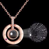 100 Sprachen Halskette Ich liebe dich Projektions-Anhänger-Halsketten-römische Ziffern Kristallanhänger Kette Schmuck 4styles GGA2718