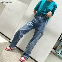 Women's Jeans Woherb Hoge Taille Mode Kleding Mes Cut Wide Leg Denim Broek Holle Losse Casual Pantalon Streetwear